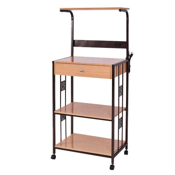 3-Tier Iron Frame Rolling Kitchen Storage Cart W/ Electric Outlet HW54135