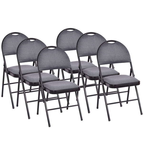 Set Of 6 Folding Fabric Upholstered Metal Chairs HW54166
