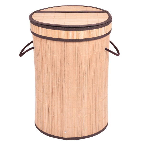 Round Bamboo Hamper Laundry Basket With Lid-Natural HW54486NA - (Pack Of 2)