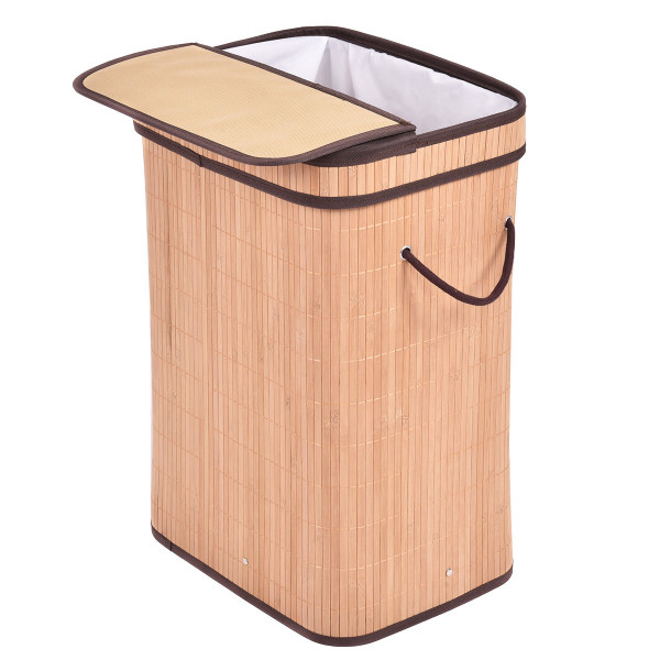 Rect Bamboo Laundry Hamper Basket With Lid-Natrual HW54488NA - (Pack Of 2)