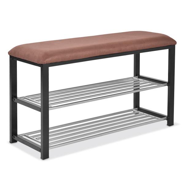 2 Tiers Shoe Storage Rack Soft Seat Bench HW54758