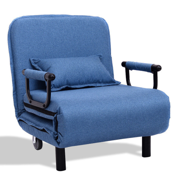 Convertible Folding Leisure Recliner Sofa Bed-Blue HW54759BL