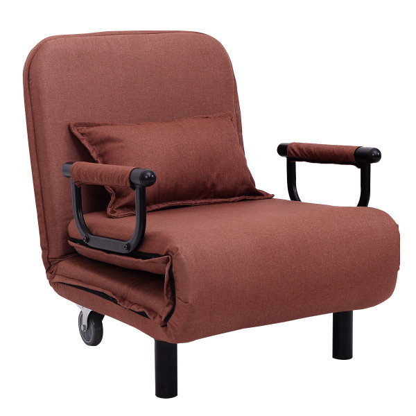 Convertible Folding Leisure Recliner Sofa Bed-Coffee HW54759CF