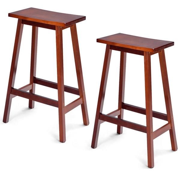 "2-Set Walnut Saddle Seat 24""/ 29"" Bistro Wooden Bar Stools-29"" HW54784WN"