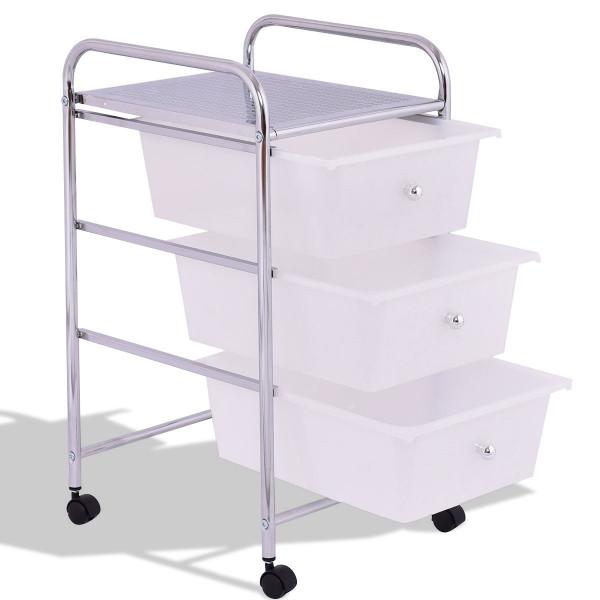 3 Drawers White Metal Rolling Storage Cart HW55239