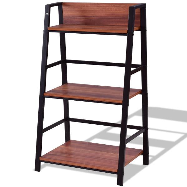 3-Tier Home Office Ladder Shelf Bookshelf Plant Display Stand Storage Shelves HW55403