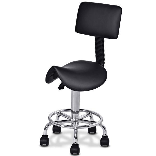Adjustable Saddle Salon Rolling Massage Chair W/ Backrest-Black HW55489BK