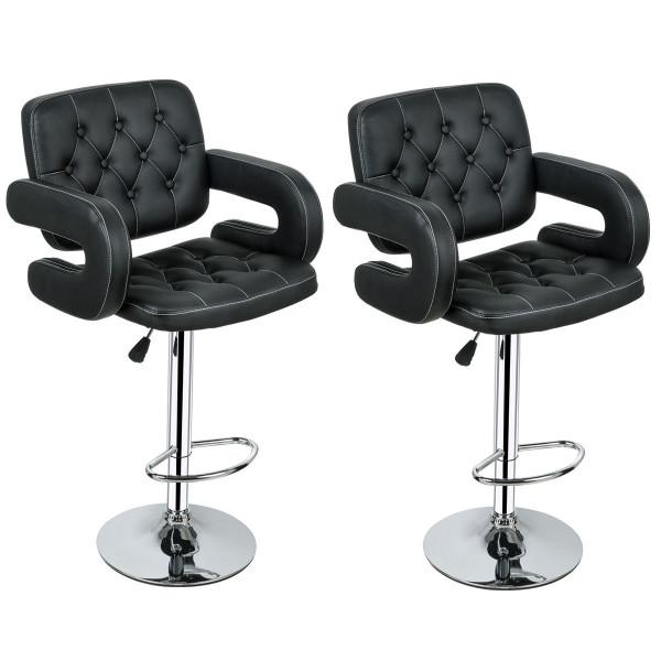 2-Set Pu Leather Swivel Bar Stools Adjustable Pub Chair-Black HW55501BK