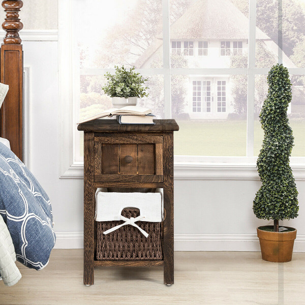Small 2 Tier 1 Drawer Wood Nightstand With Basket-Coffee HW55996CF