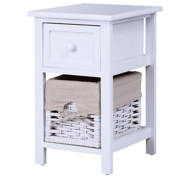 2 Tier 1 Drawer Bedside Organizer Wood Nightstand W/ Basket-White HW55996WH