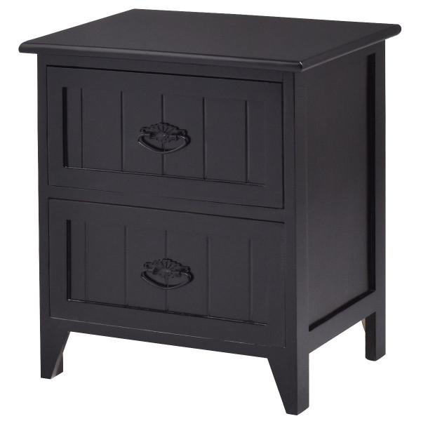 2 Drawers Storage Wood End Side Nightstand-Black HW56014BK
