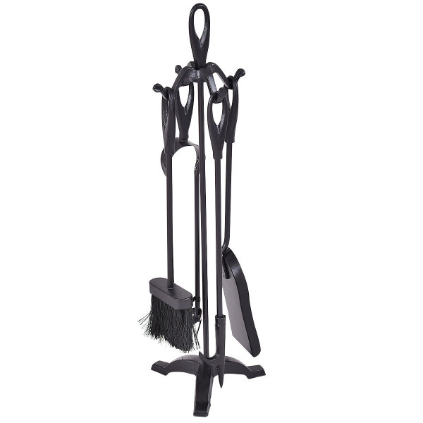 5 Pcs Stylish Black Iron Fireplace Tools Set HW56078