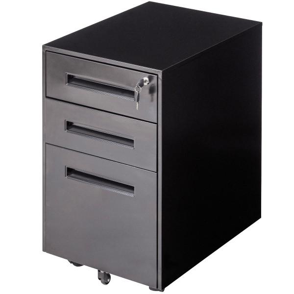 Metal Rolling Sliding Drawer A4 File Cabinet -Black HW56193BK
