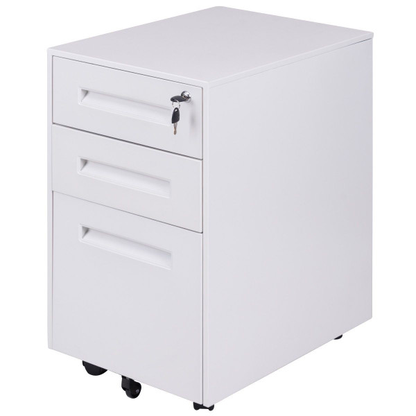 Metal Rolling Sliding Drawer A4 File Cabinet -White HW56193WH