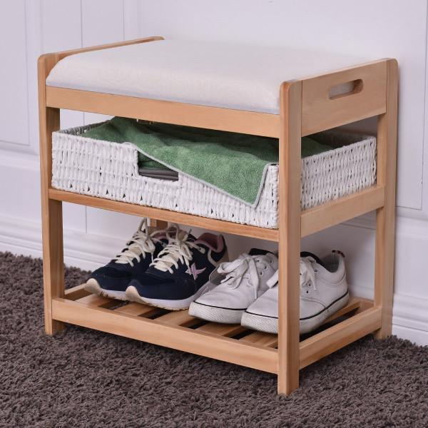 2-Tier Entryway Hallway Wooden Shoe Rack With Cushion HW56235