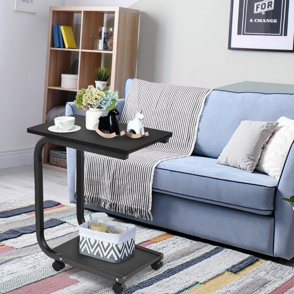 2-Tier Snack Stand Rolling Sofa Side Table HW56369