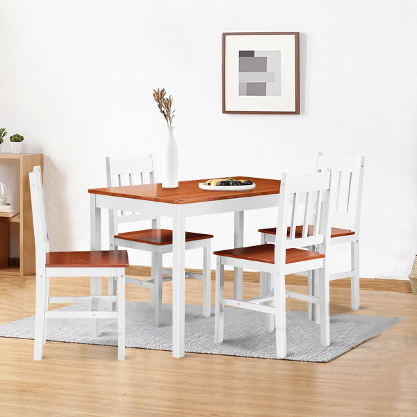 5 Pcs Wood Dining 4 Chairs & Table Set-Wood HW56436WA