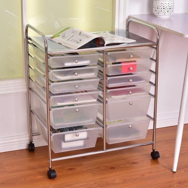 12 Storage Drawer Organizer Bins Rolling Cart HW56500