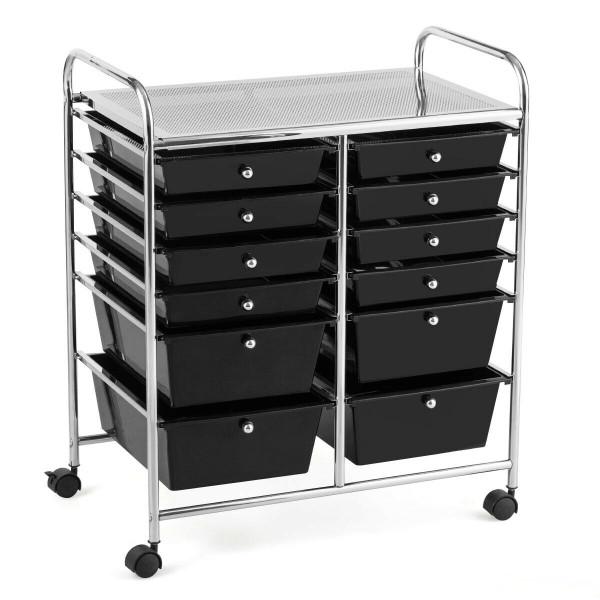 12 Drawers Rolling Cart Storage Scrapbook Paper Organizer Bins-Black HW56500BK