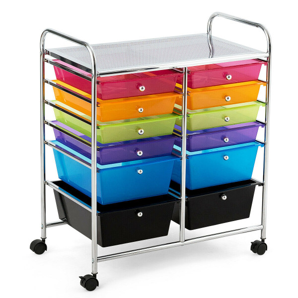 12 Drawers Rolling Cart Storage Scrapbook Paper Organizer Bins-Multicolor HW56500COLOR