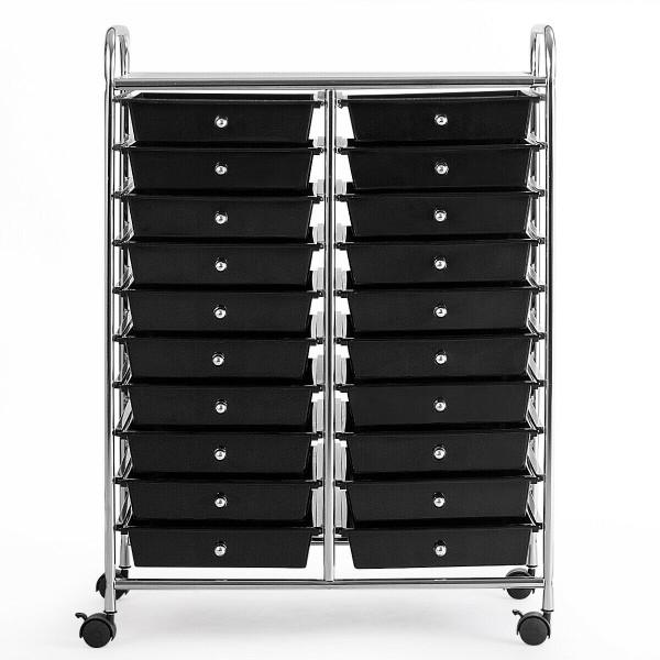 20 Drawers Rolling Cart Storage Scrapbook Paper Studio Organizer Bins Clear-Black HW56501BK
