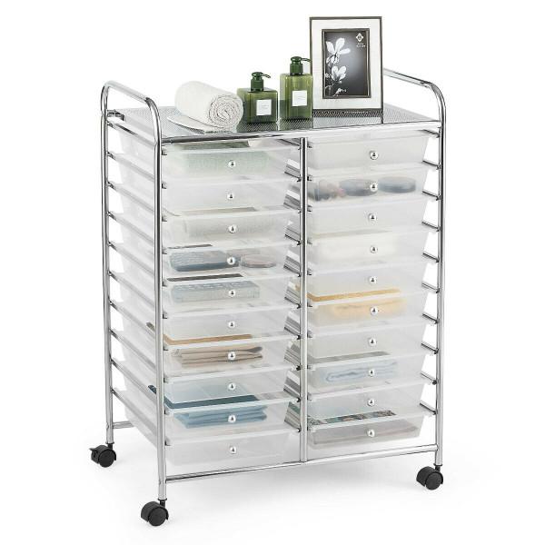 20 Drawers Rolling Cart Storage Scrapbook Paper Studio Organizer Bins Clear-Clear HW56501CL