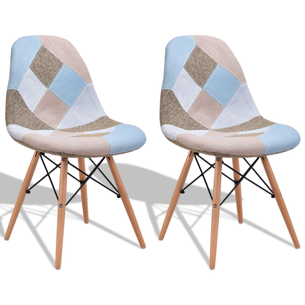 2 Pcs Armless Fabric Upholstered Dining Chairs With Wooden Legs HW56503