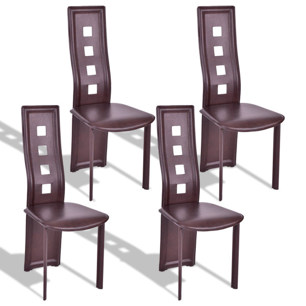 Set Of 4 Steel Frame High Back Armless Dining Chairs HW56675