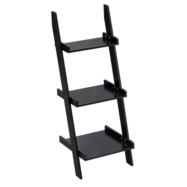 3 Tier Leaning Rack Wall Ladder Book Shelf Bookcase Storage Display Multipurpose-Black HW56699BK