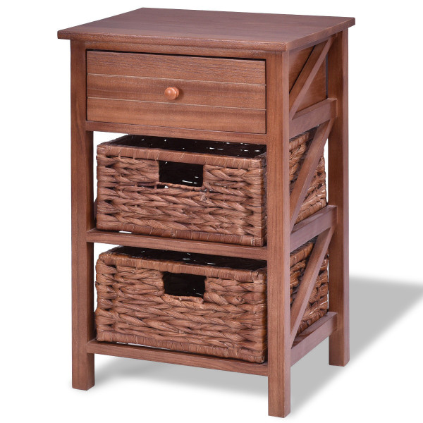 3 Tiers Wood Nightstand W/ 1 Drawer And 2 Basket HW56726