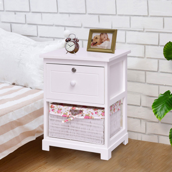 2 Tiers Wood Nightstand W/ 1 Drawer And 1 Basket HW56727