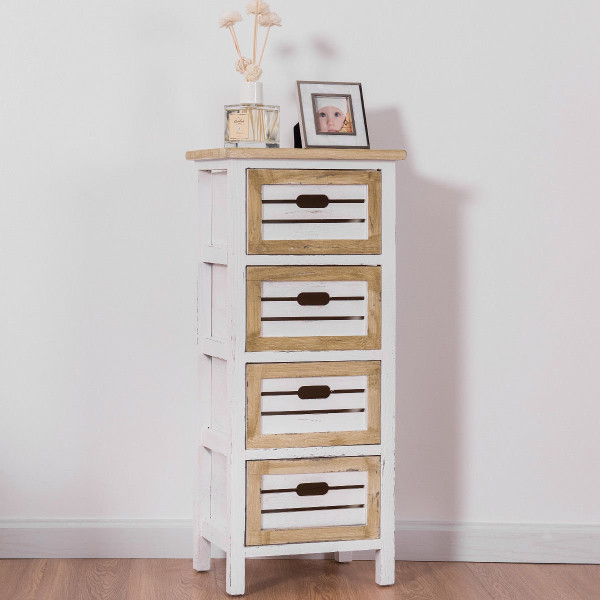 4 Drawers Wooden Chest Side End Cabinet Nightstand HW57054