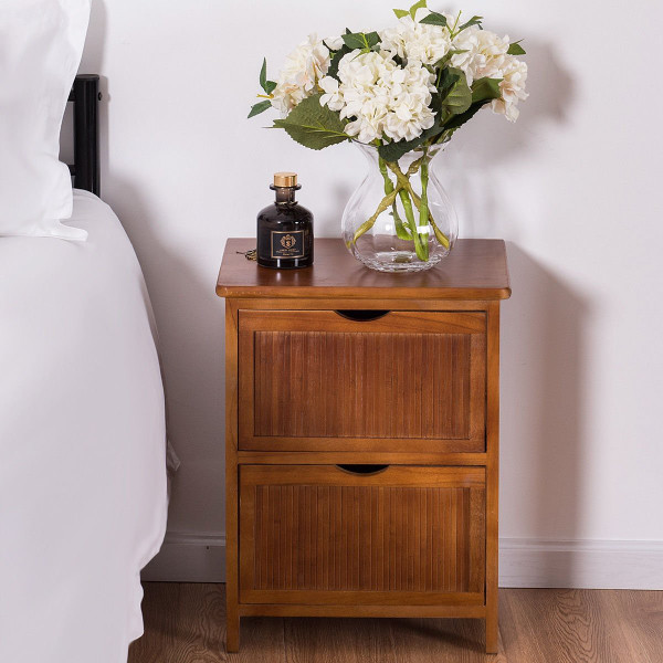 2 Drawers Contemporary Vintage Bedside Solid Wood Nightstand HW57057