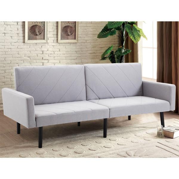 Convertible Recliner Couch Splitback Sleeper Futon Sofa Bed-Gray HW57254GR