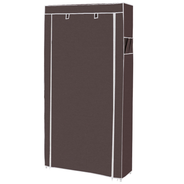 10 Tier 27 Pair Space Saving Shoe Tower Rack With Fabric Cover-Brown HW57332CF - (Pack Of 2)