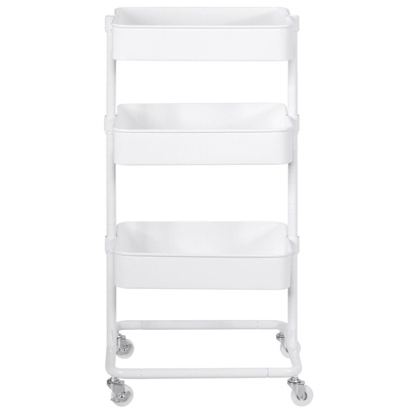 3-Tier Metal Rolling Storage Cart Mobile Organizer With Adjustable Shelves-White HW57744WH