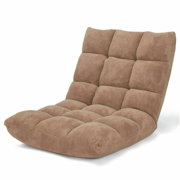 Adjustable 14-Position Cushioned Floor Chair-Beige HW57991BE