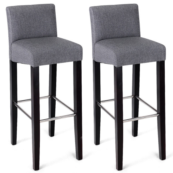 2 Pcs Fabric Bar Stool Pub Chair With Solid Wooden Legs-Gray HW58148GR-2