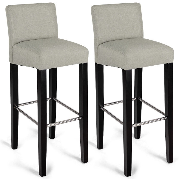 2 Pcs Fabric Bar Stool Pub Chair With Solid Wooden Legs-Beige HW58148WH-2