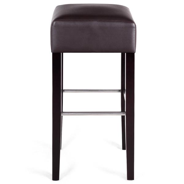 1 Pc Backless Bar Stool Pvc Seat Rubber Wood Legs Pub Kitchen Dining Black-Brown HW58149CF