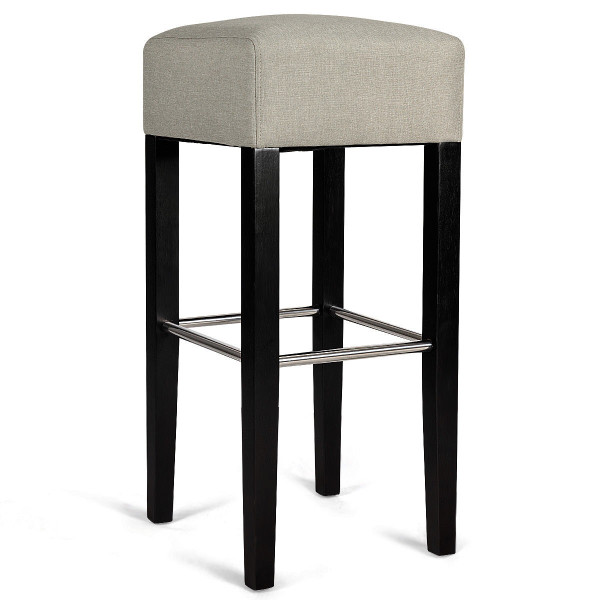 1 Pc Backless Bar Stool Fabric Seat Rubber Wood Legs Pub Kitchen Dining Beige-Beige HW58308BE