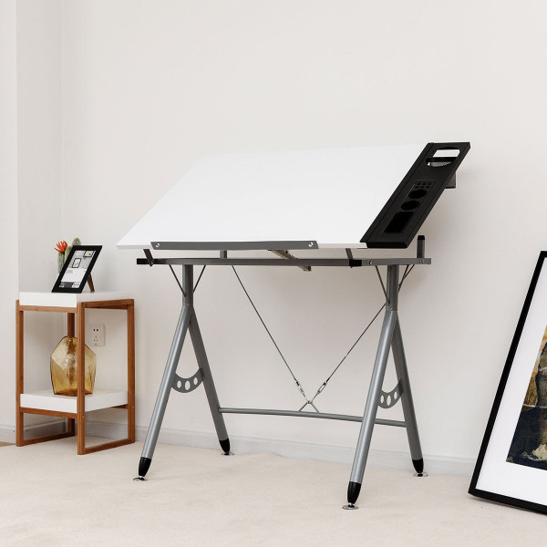 Adjustable Art & Craft Station Drawing Desk W/ Side Tray HW58324