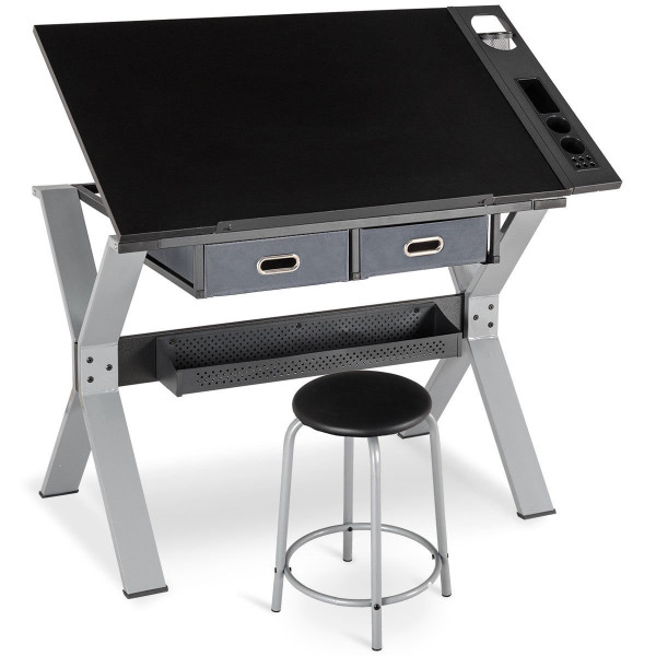 Adjustable Tiltable Drafting Table Drawing Desk With Stool And Drawer HW58327
