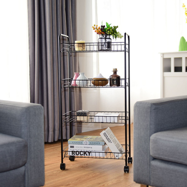 4 Tier Rolling Kitchen Utility Trolley With Storage Shelf Baskets HW58504