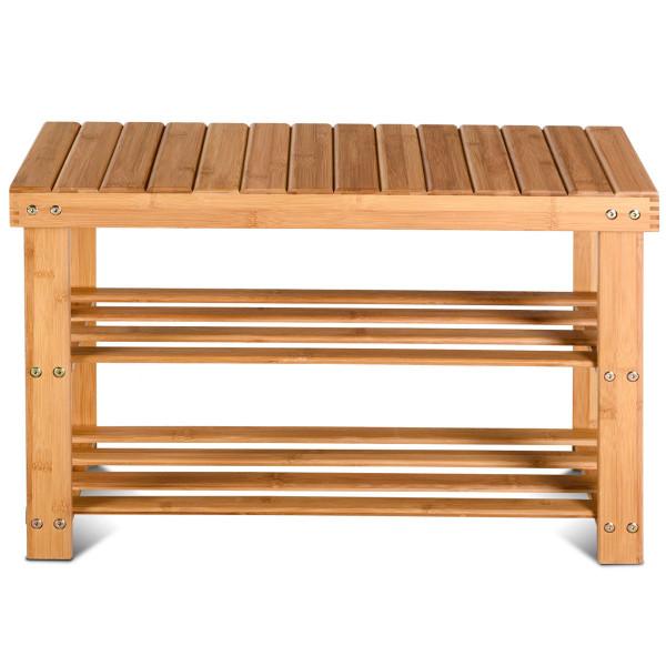 2-Tier Bamboo Shoe Bench Entryway Storage Racks HW58530