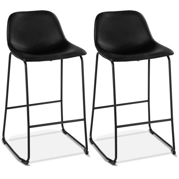 2-Set Pu Leather Pub Barstools Side Chairs With Backrest HW58847