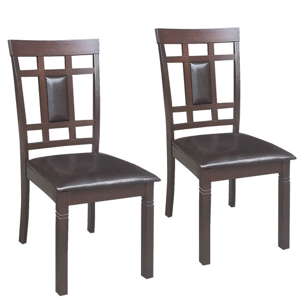 Set Of 2 Pu Leather Upholstered Dining Chairs High Back Armless Furniture-Coffee HW58875CF