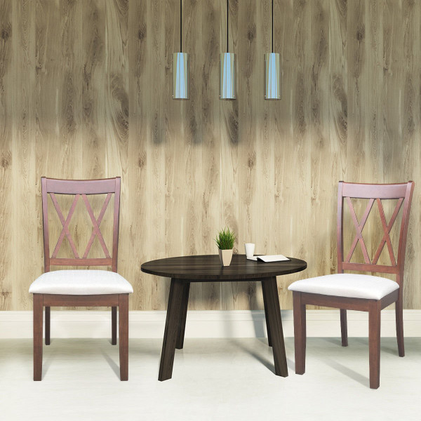 Set Of 2 Armless High Back Fabric Upholstered Dining Chairs-Walnut HW58877WN