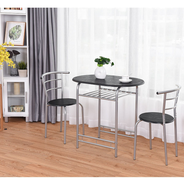 3 Pcs Home Bistro Table And 2 Chairs Dining Set-Black HW58896BK