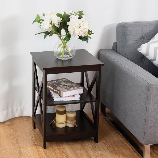 3-Tier Living Room Display Storage Shelf Nightstand-Coffee HW58944CF